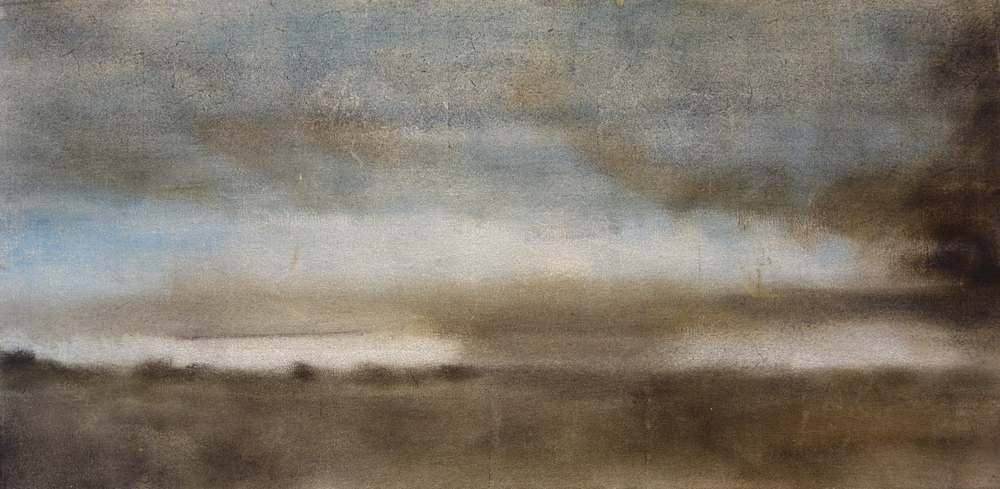 "Morning Fog, 2007, oil + alum-silver on canvas, 19""x36"""