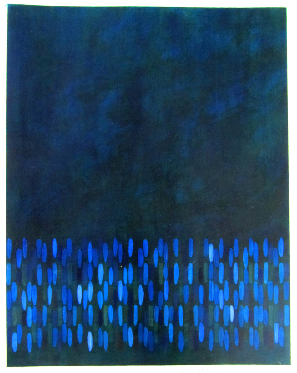 "Afloat on Paper (Blue), 2009,  oil on canvas paper, 20""x16"" (≈51x41cm)"