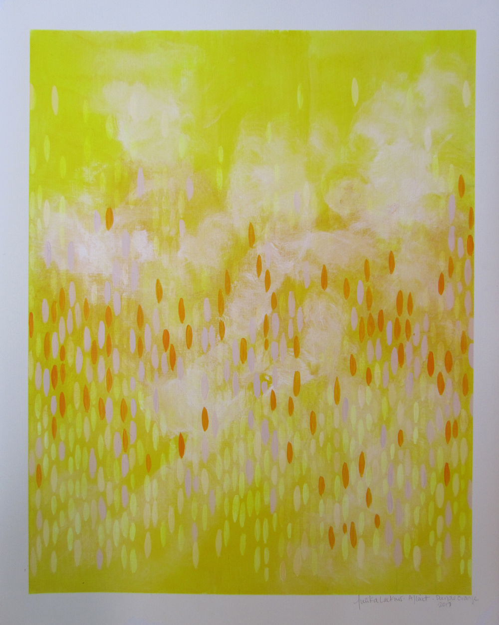 "Afloat on Paper (Purple/Orange), 2011,  acrylic on canvas paper, 20""x16"" (≈51x41cm)"