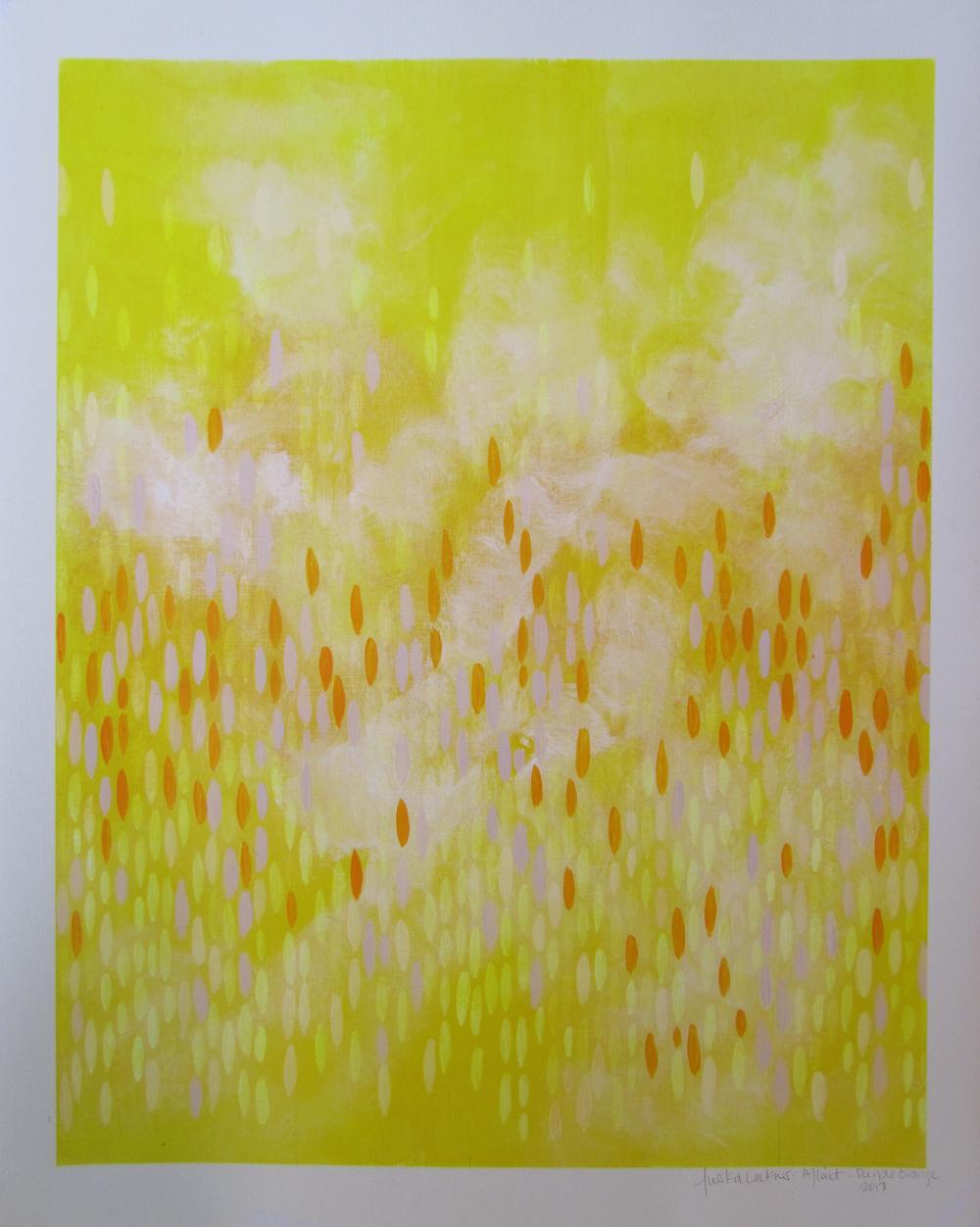 "Afloat on Paper (Purple/Orange), 2011,  acrylic on canvas paper, 20""x16"" (≈51x41cm)"