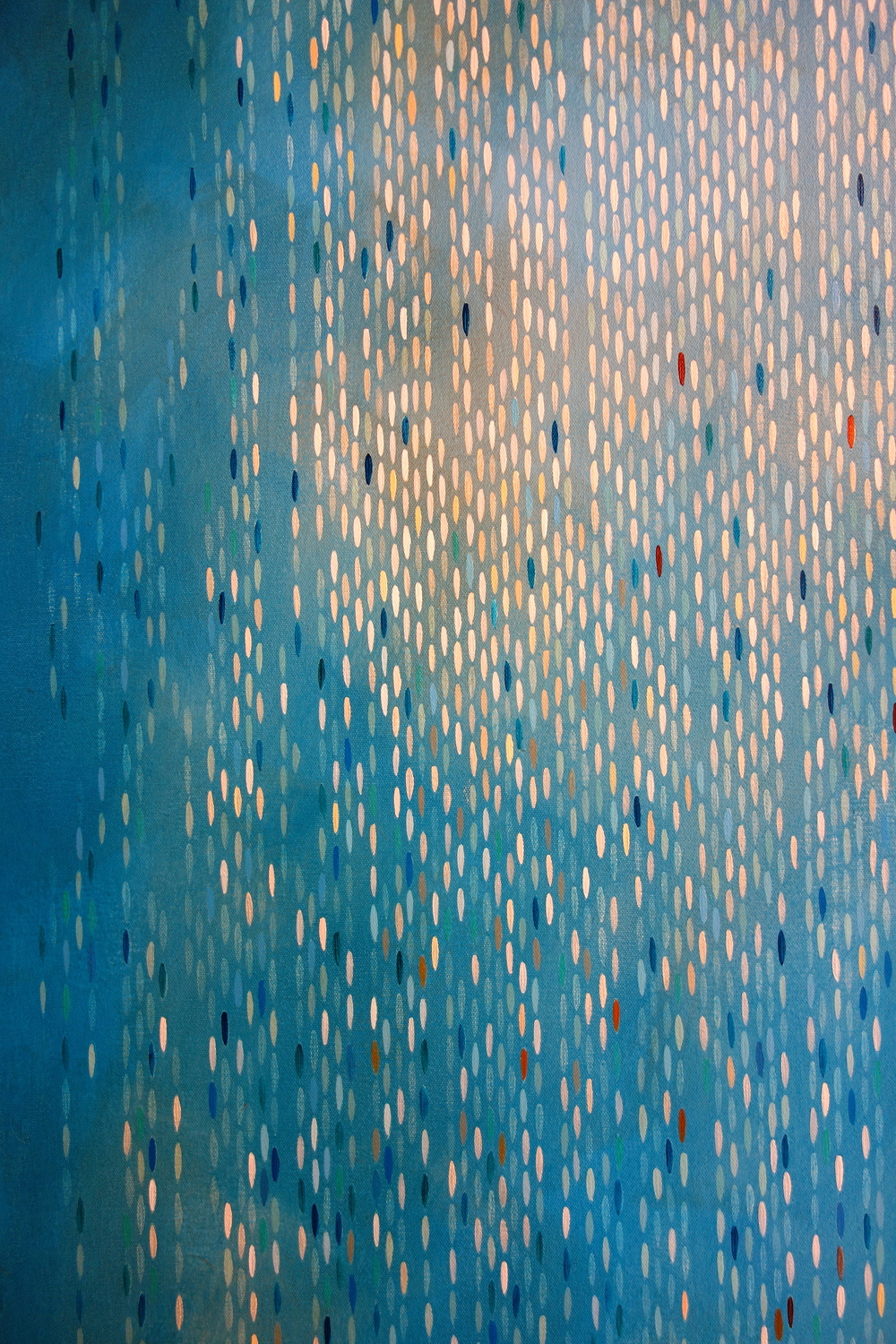 "Detail: Julika Lackner, Spectral Phase #4, 2013, Acrylic, Oil, and Alum-Silver Leaf on Canvas, 96""x72"""