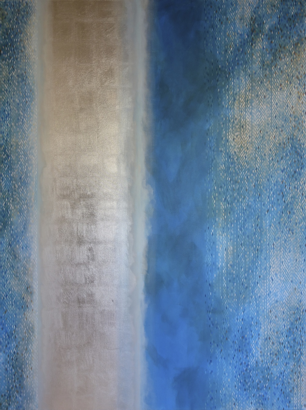 "Julika Lackner, Spectral Phase #4, 2013, Acrylic, oil + alum-silver on canvas, 96""x72"""