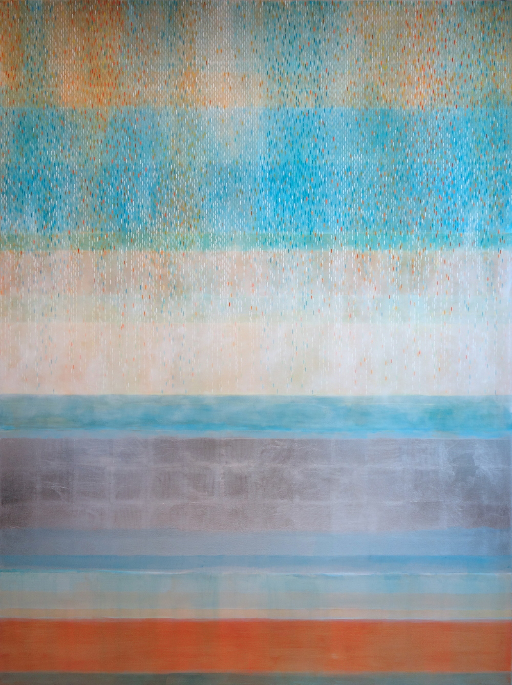 "Julika Lackner, Spectral Phase #5, 2013, Acrylic, Oil, and Alum-Silver Leaf on Canvas 96""x72"""