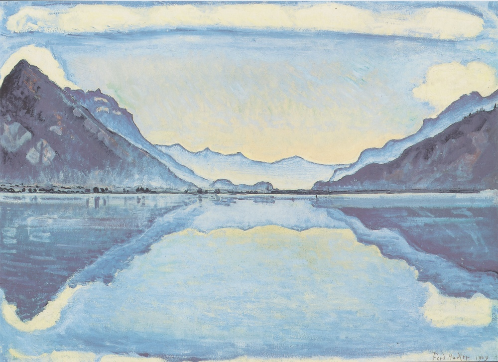 "Ferdinand Hödler, ""Thunnersee with Reflective Mirroring"", 1909, Oil on Canvas, 26.5"" x 36"""