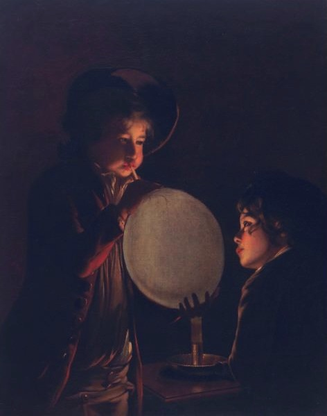 "Joseph Wright of Derby, ""Two Boys by Candlelight, Blowing a Bladder"", ca1767, Oil on Canvas, 36"" x 28 3/8"""