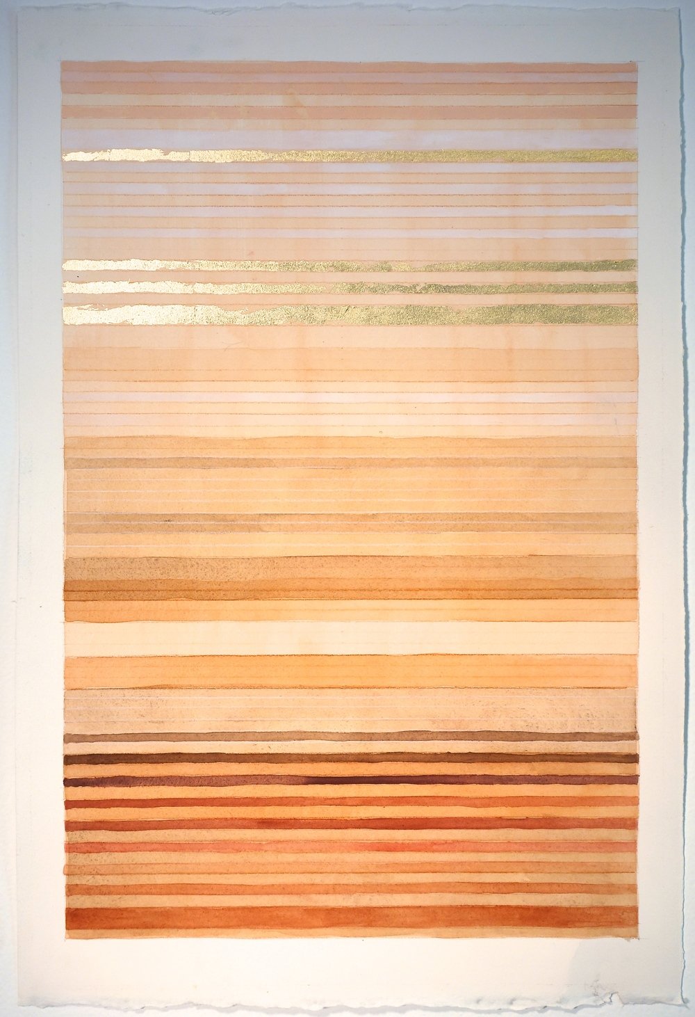 "Color Bands (Dawn), 2013, Watercolor, gouache and gold on paper, 22 3/4""x15 1/4"""