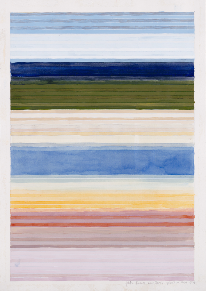 "Color Bands (Yellowstone Light), 2014, Watercolor and gouache on paper, 20""x14 1/4"""