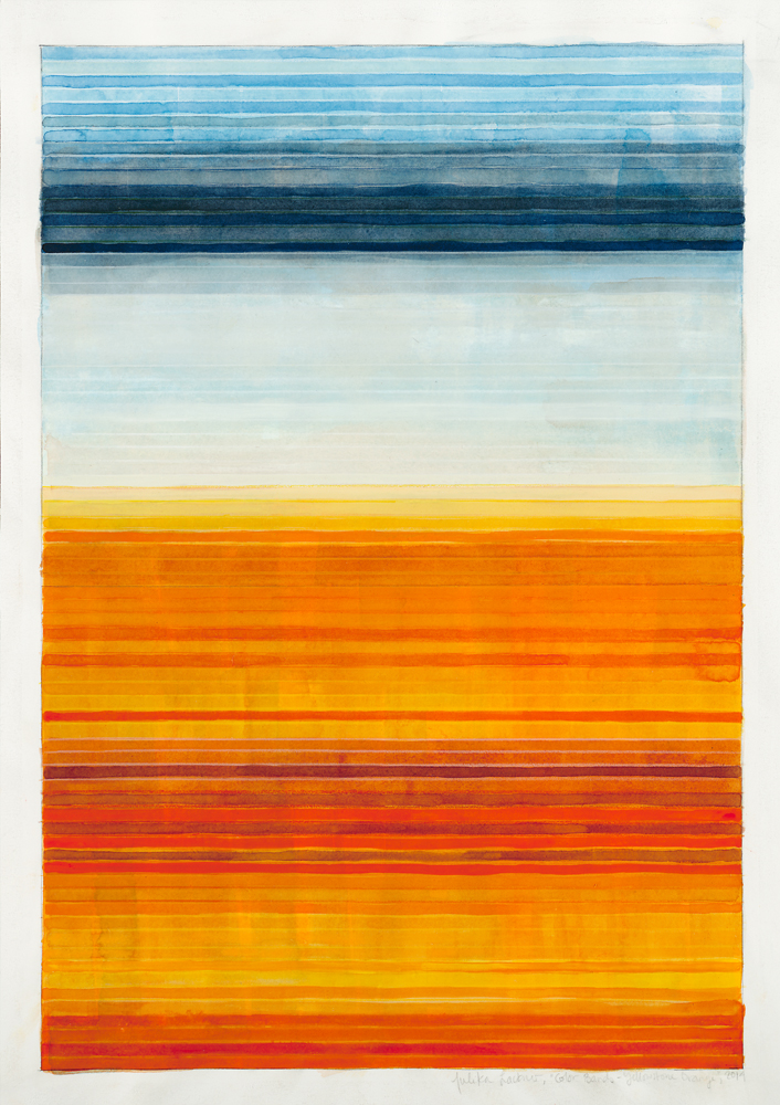 "Color Bands (Yellowstone Orange), 2014, Watercolor and gouache on paper, 20""x14 1/4"""