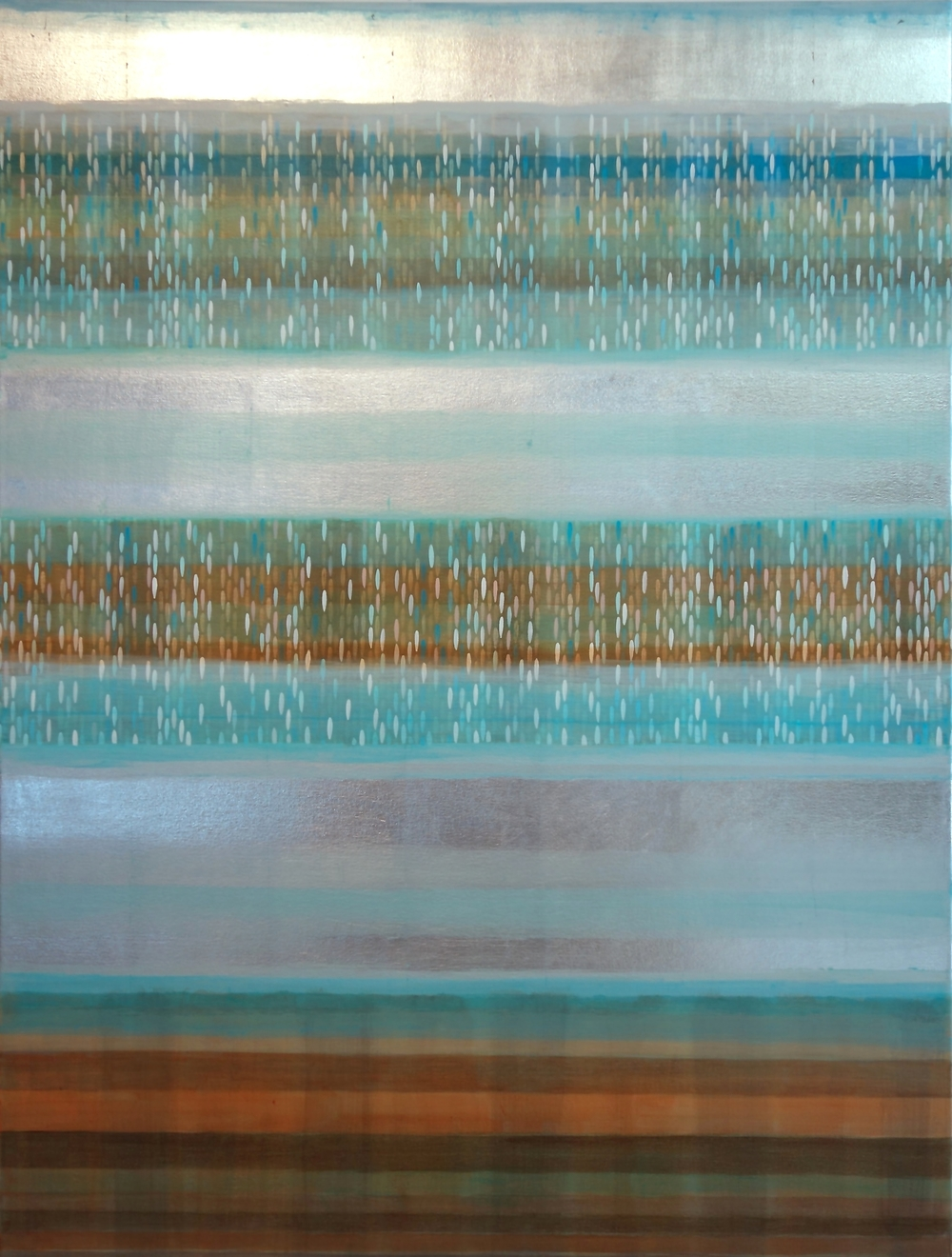 "color bands #1, 2014, acrylic + alum-silver on canvas, 48""x36"""