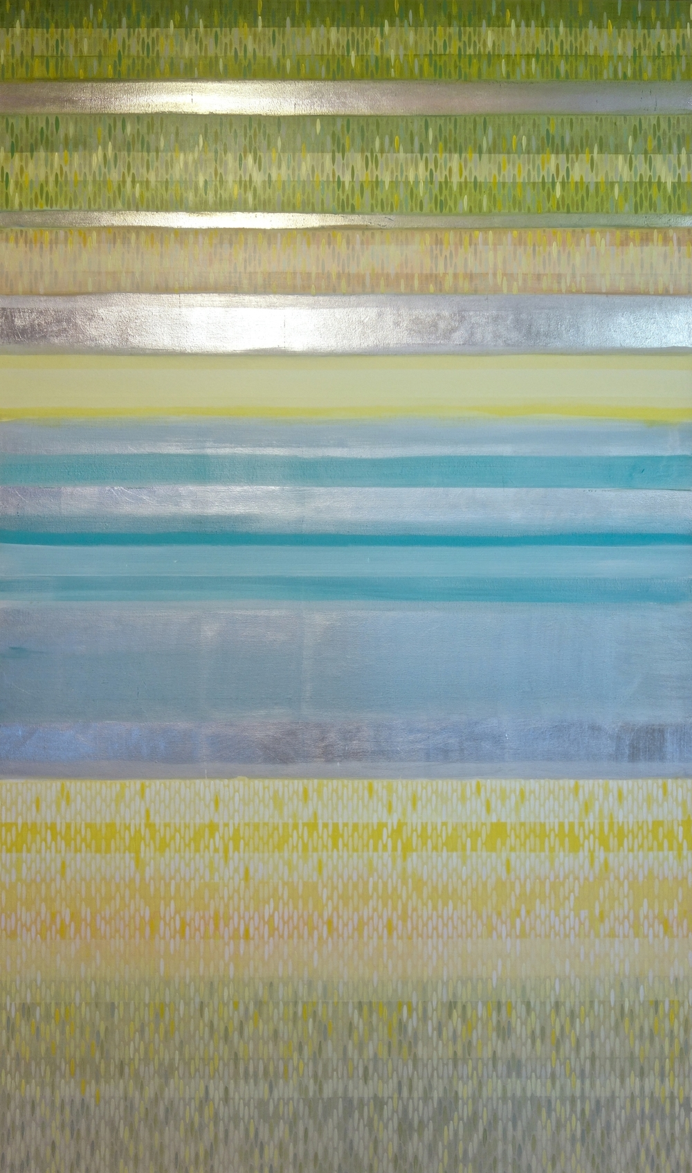 "color bands #4, 2014, acrylic + alum-silver on canvas, 60""x36"""
