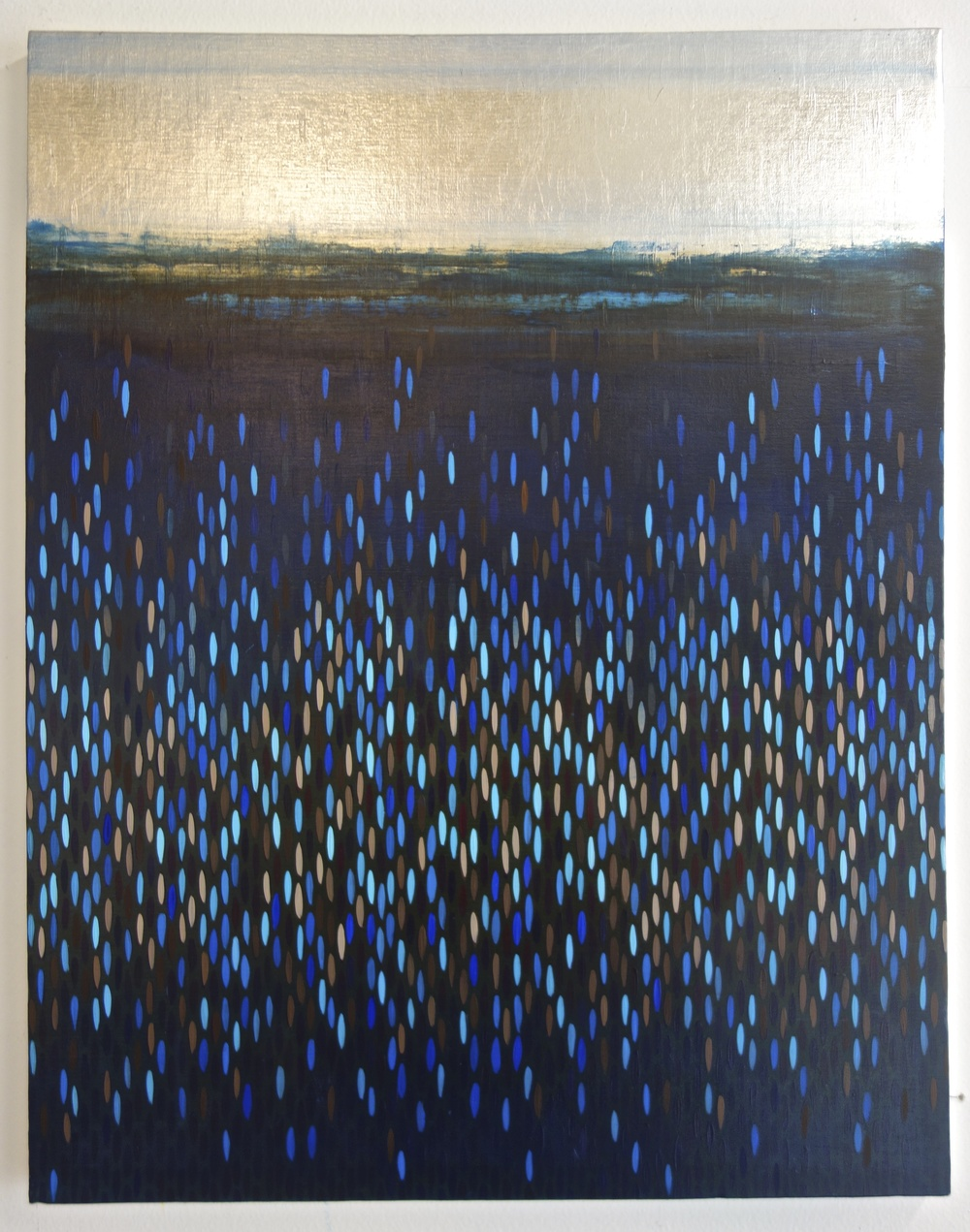 "Afloat - dark blues, 2015, acrylic + alum-silver on canvas, 28""x22"""