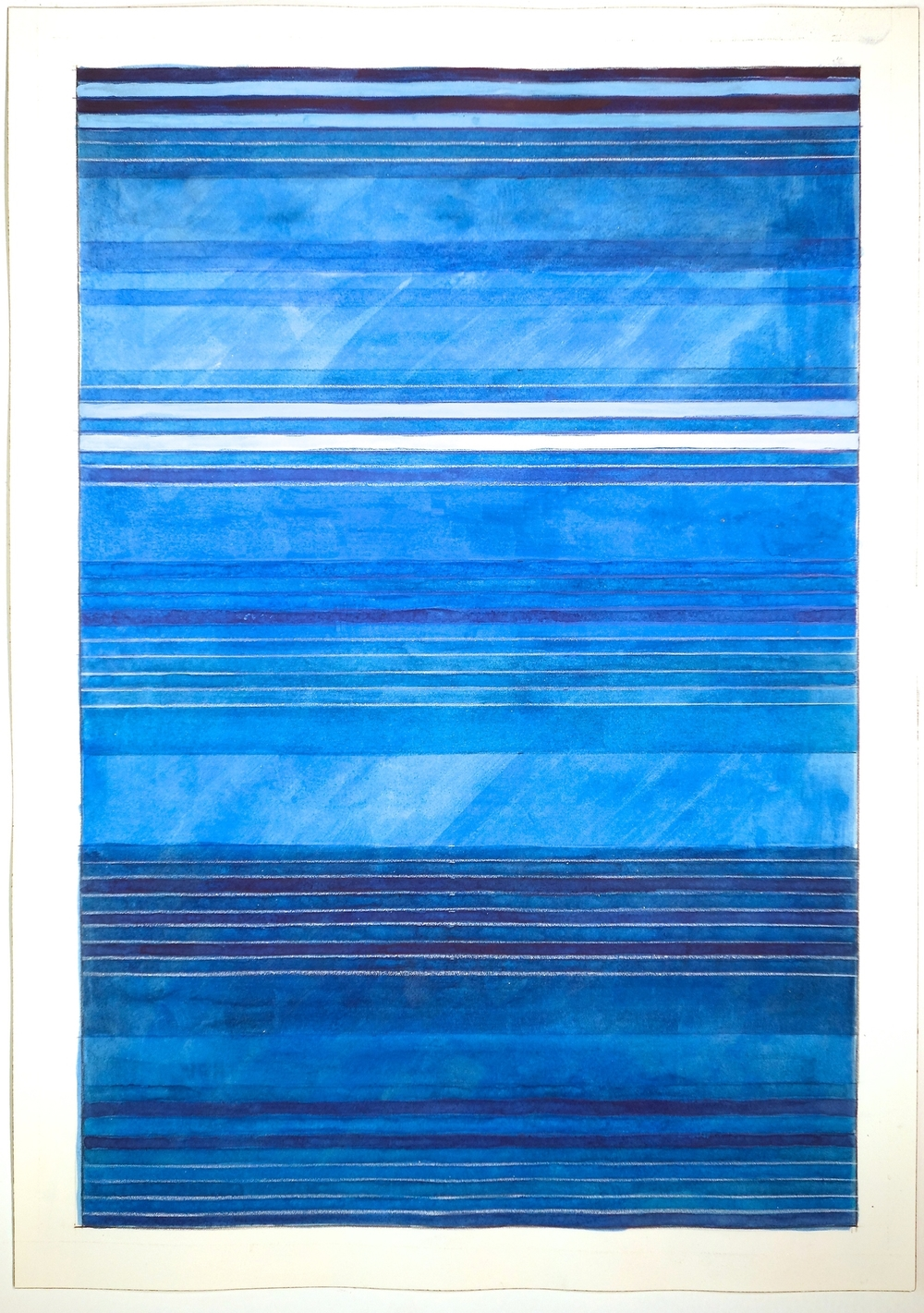 "Color Bands (Blues), 2014, Watercolor and gouache on paper, 20""x14 1/4"""