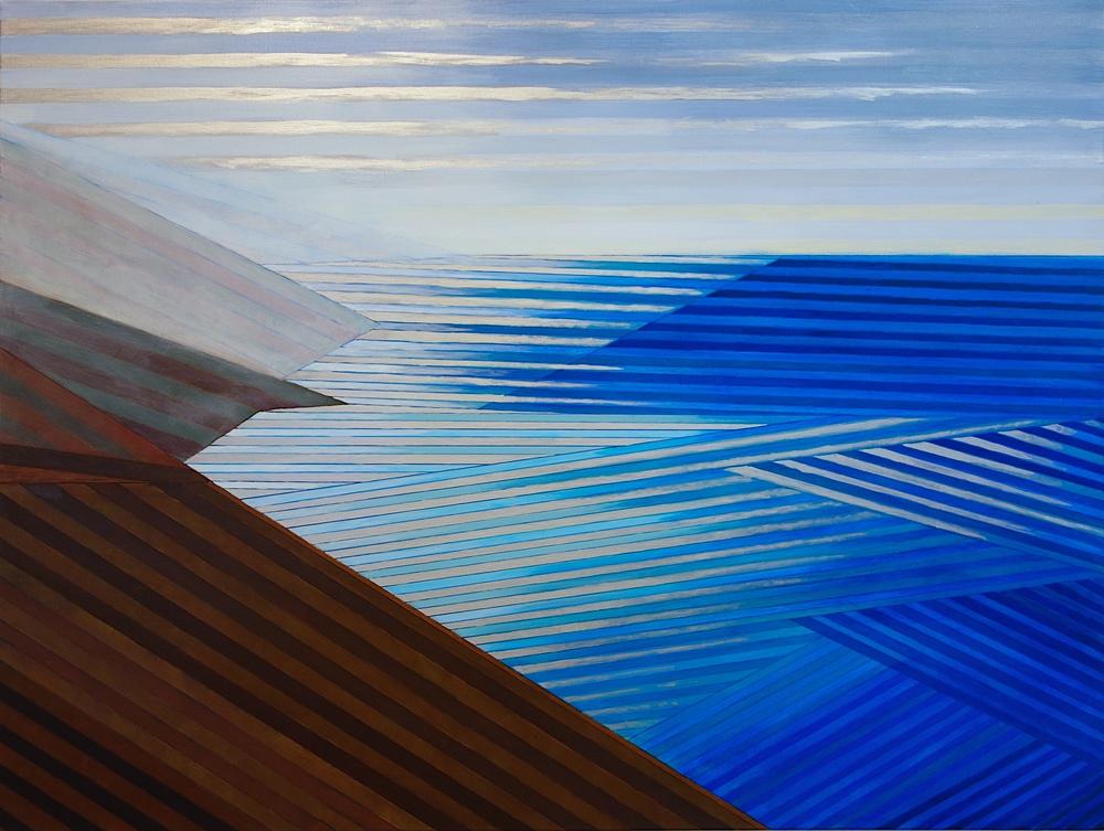 "Big Sur #4, 2015. Acrylic and Silver on Canvas. 36""x48"" (91x123cm)"
