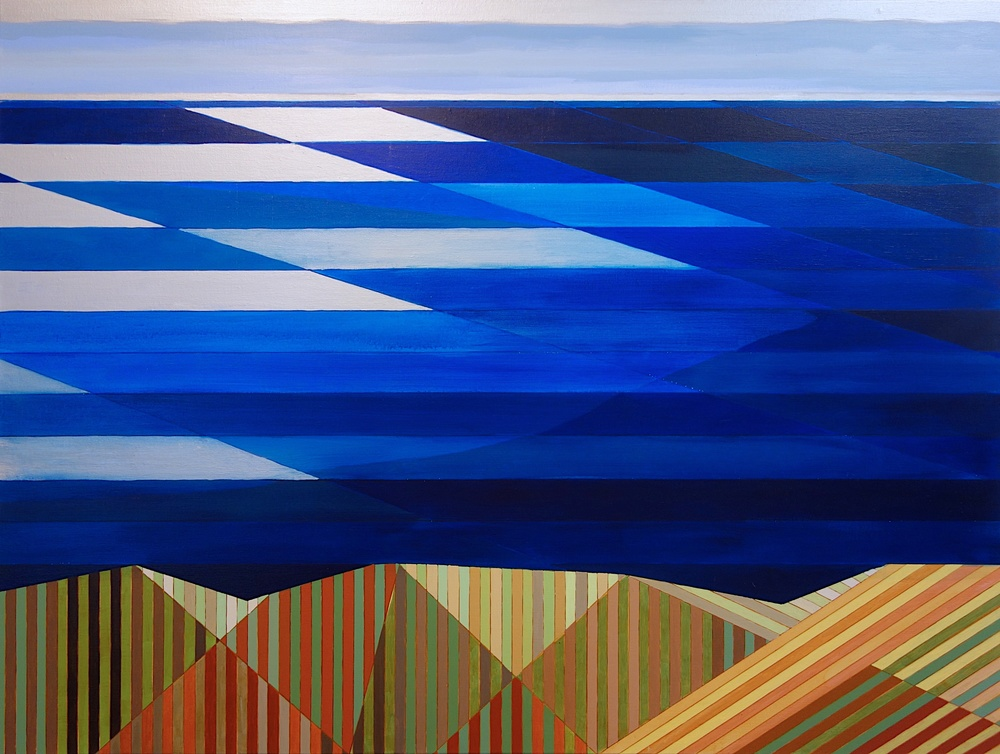 "Land Sea Sky (Big Sur #5), 2015. Acrylic and Silver on Canvas. 36""x48"" (91x123cm)"