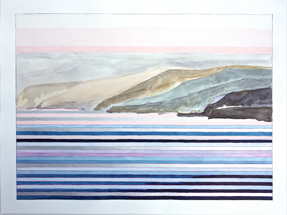 "Study for Big Sur #7. 2015. watercolor on paper, 15""x20"""