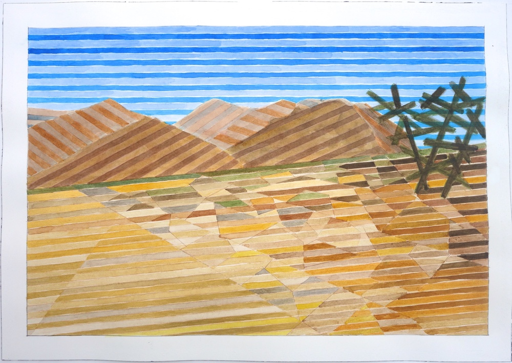 "Mojave #1, 2015. watercolor and gouache on paper. 14""x20"""