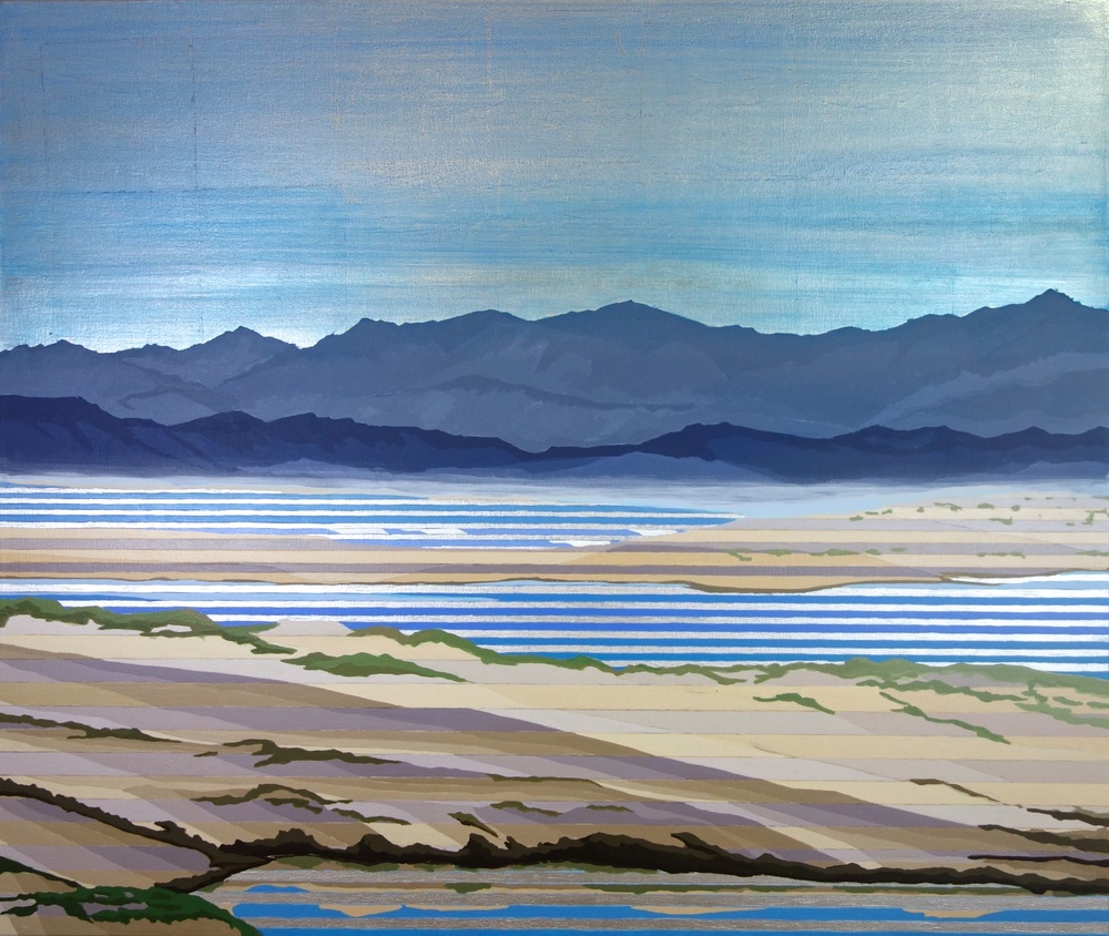"Dunes, 2016. Oil, Acrylic, Silver on Canvas. 32""x38"""