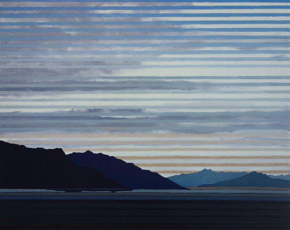 "Badwater at Dawn, 2016. Oil, Acrylic and Silver on Canvas, 20""x16"""