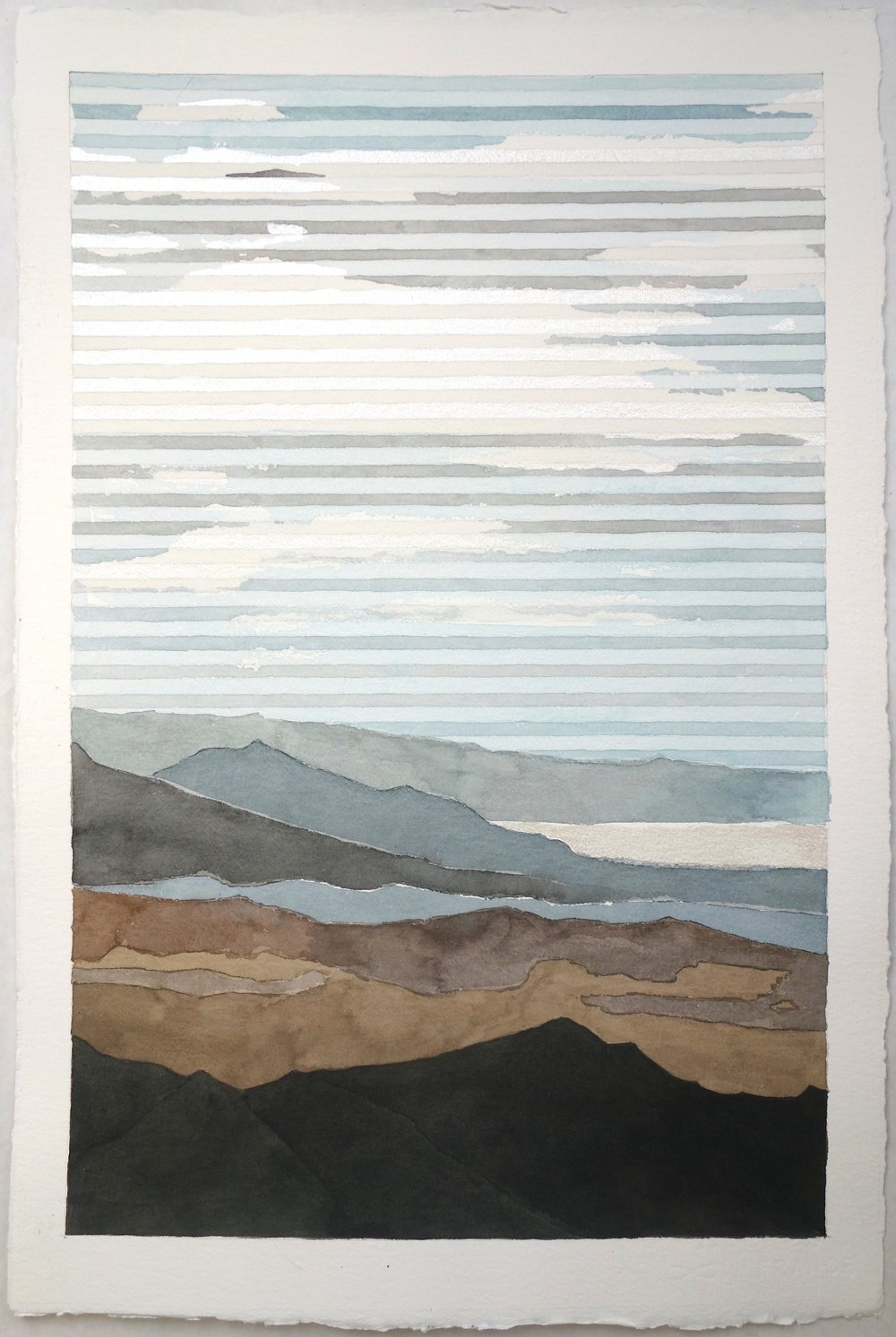 "Salton Sea, 2016. Watercolor and Silver on Paper. 22""x16"""