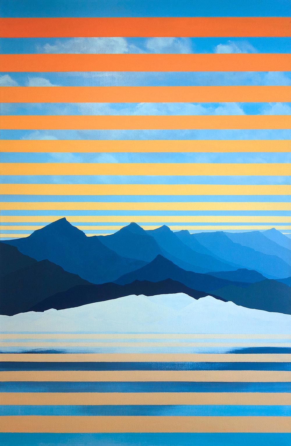 "Mono Lake. 2016. Oil and Acrylic on Canvas. 58""x38"""