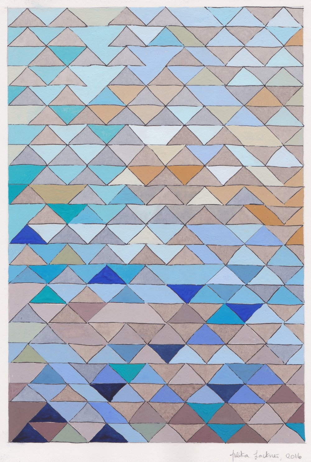 "Ephemeral Triangles no.1, 2016. Gouache, Watercolor + Ink on Paper. 11.5""x8.5"""