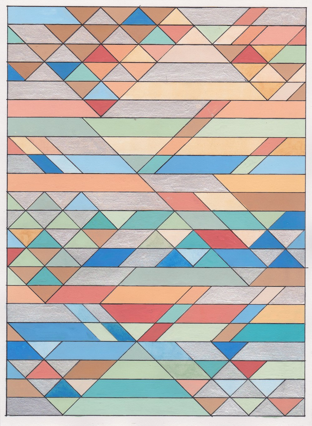 "Ephemeral Triangles no.2, 2016. Gouache, Watercolor + Ink on Paper. 11.5""x8.5"""