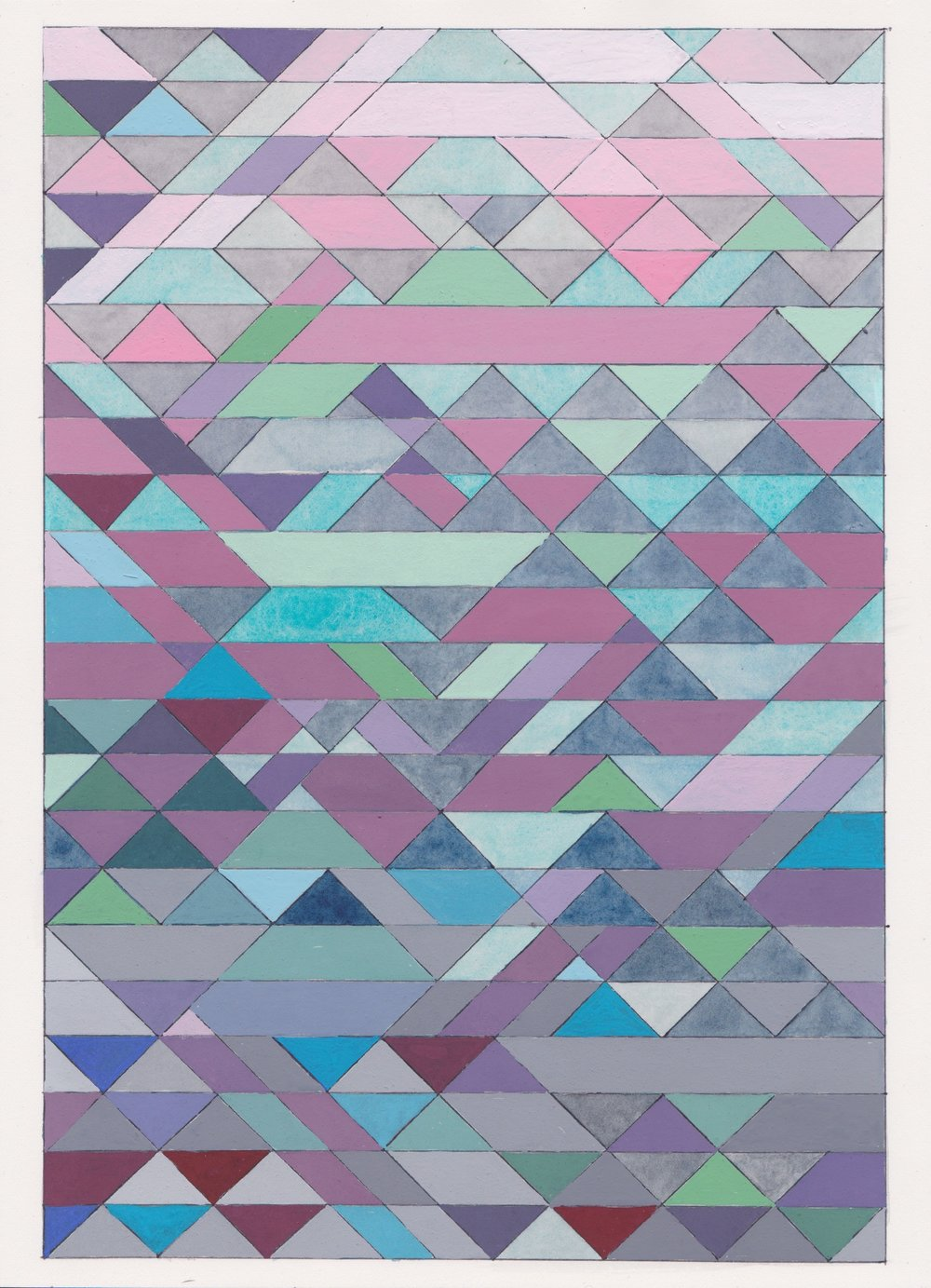 "Ephemeral Triangles no.3, 2016. Gouache, Watercolor + Ink on Paper. 11.5""x8.5"""