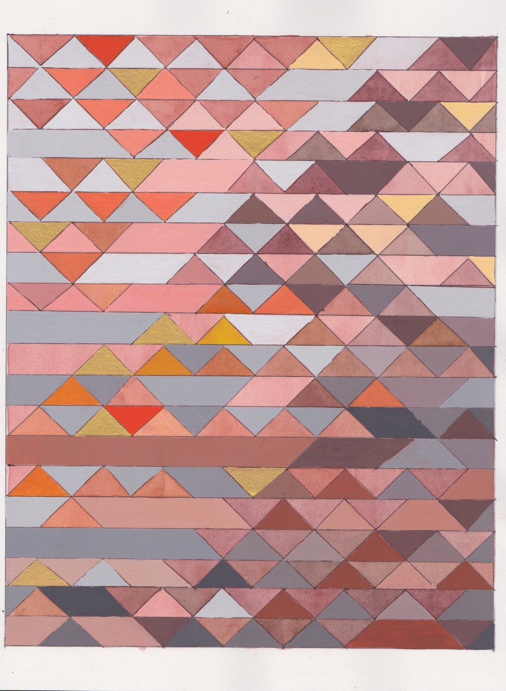 """Ephemeral Triangles no.5, 2016. Gouache, Watercolor + Ink on Paper. 11.5""""x8.5"""""""