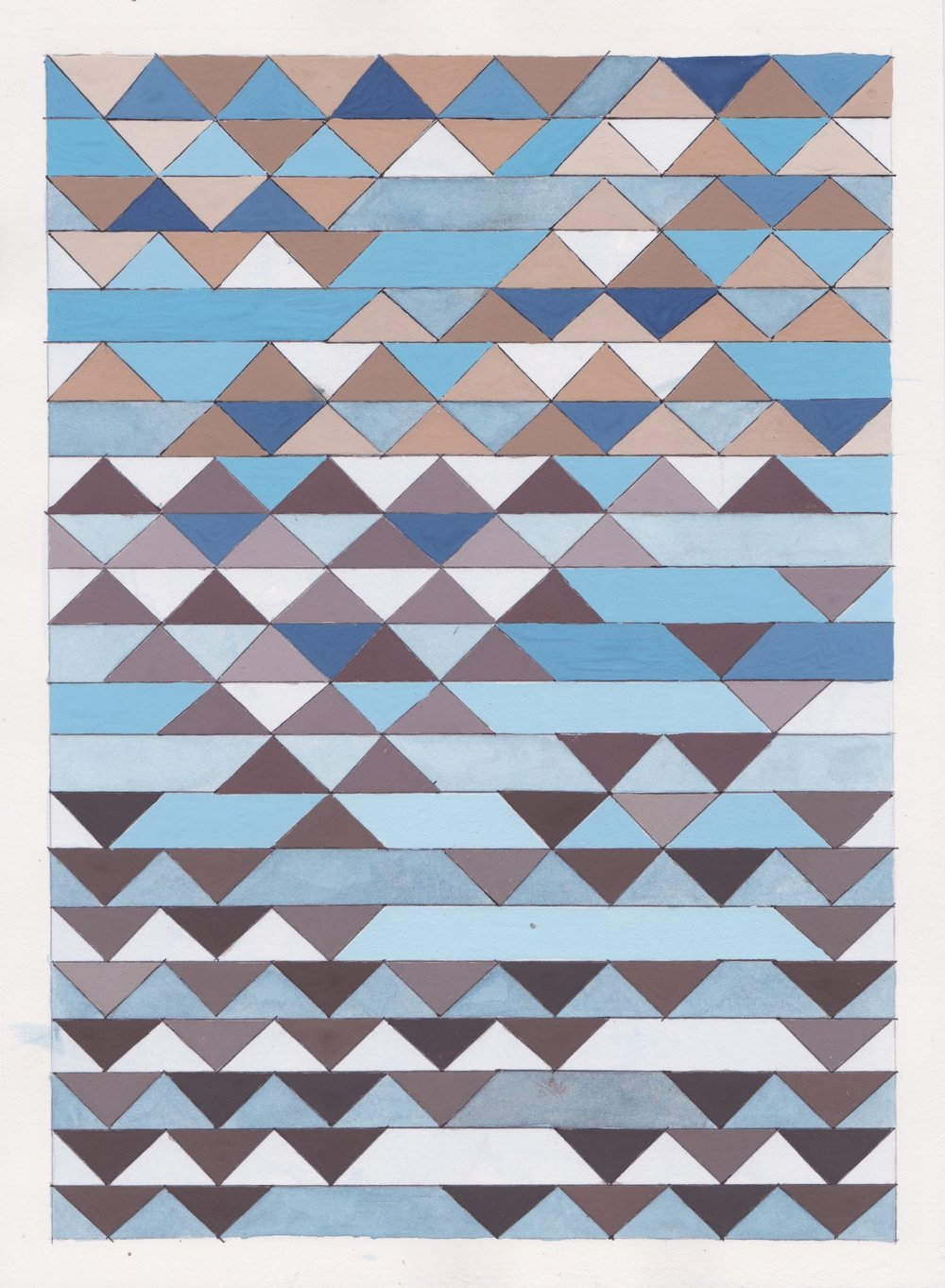 "Ephemeral Triangles no.6, 2016. Gouache, Watercolor + Ink on Paper. 11.5""x8.5"""
