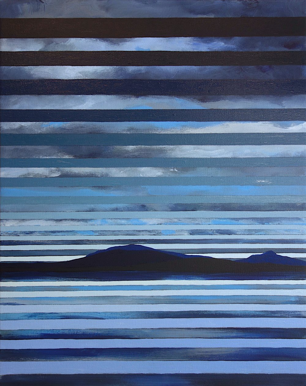 """Yellowstone Lake Study, 2016. Oil and Acrylic on Canvas. 20""""x16"""" (51x41cm)"""