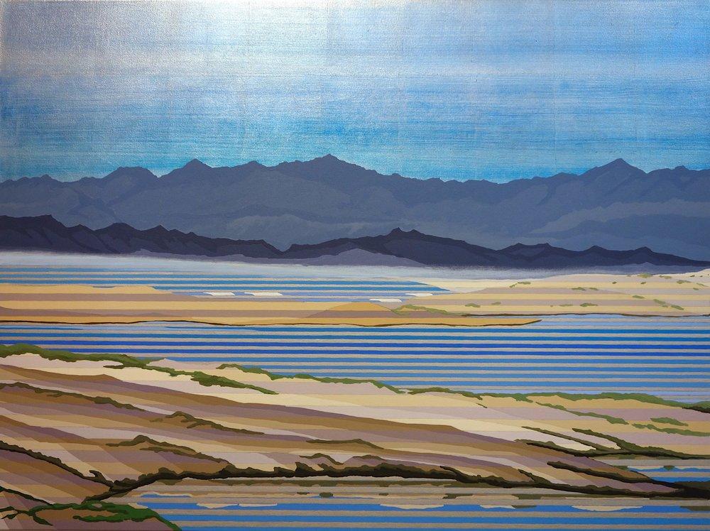 "Dunes II, 2017. Acrylic, Oil and Silver Leaf on Canvas. 36""x48"" (91x123cm)"