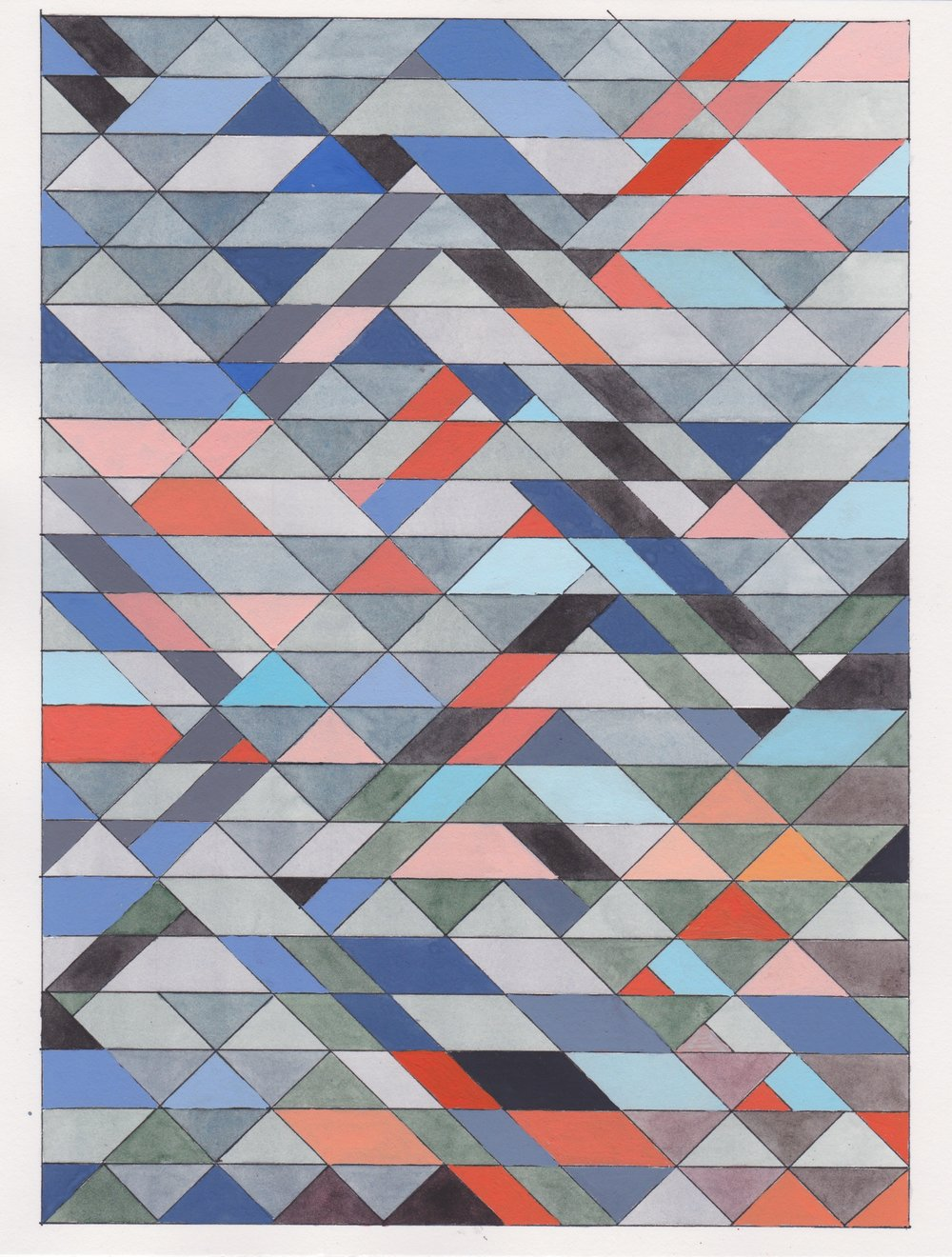 "Ephemeral Triangles no.7, 2017. Gouache, Watercolor + Ink on Paper. 11.5""x8.5"""