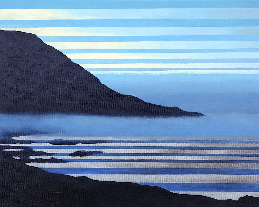 """Big Sur at Dawn, 2017. Oil, Acrylic, Silver on Canvas. 16""""x20"""" (41x51cm)"""