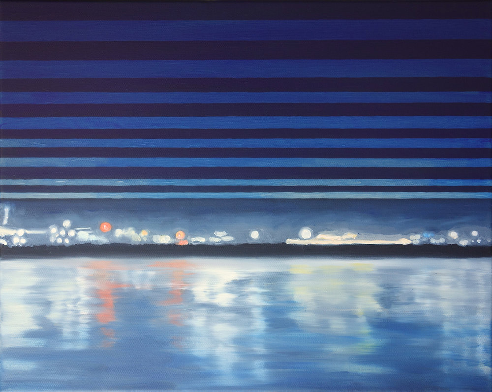 "Santa Barbara Pier, 2017. Oil on Canvas. 16""x20"" (41x51cm)"