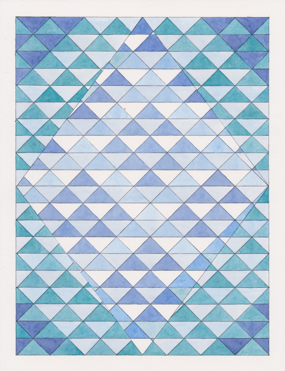 "Ephemeral Triangles no.9, 2017. Gouache, Watercolor + Ink on Paper. 11.5""x8.5"""