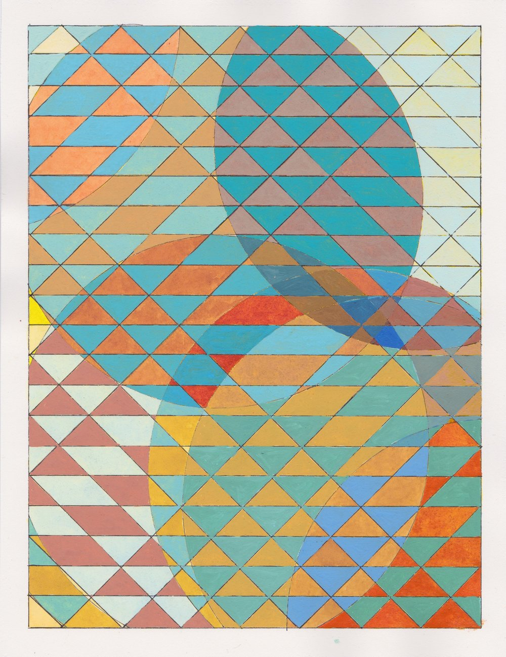 """Ephemeral Triangles no.11, 2017. Gouache, Watercolor + Ink on Paper. 11.5""""x8.5"""""""