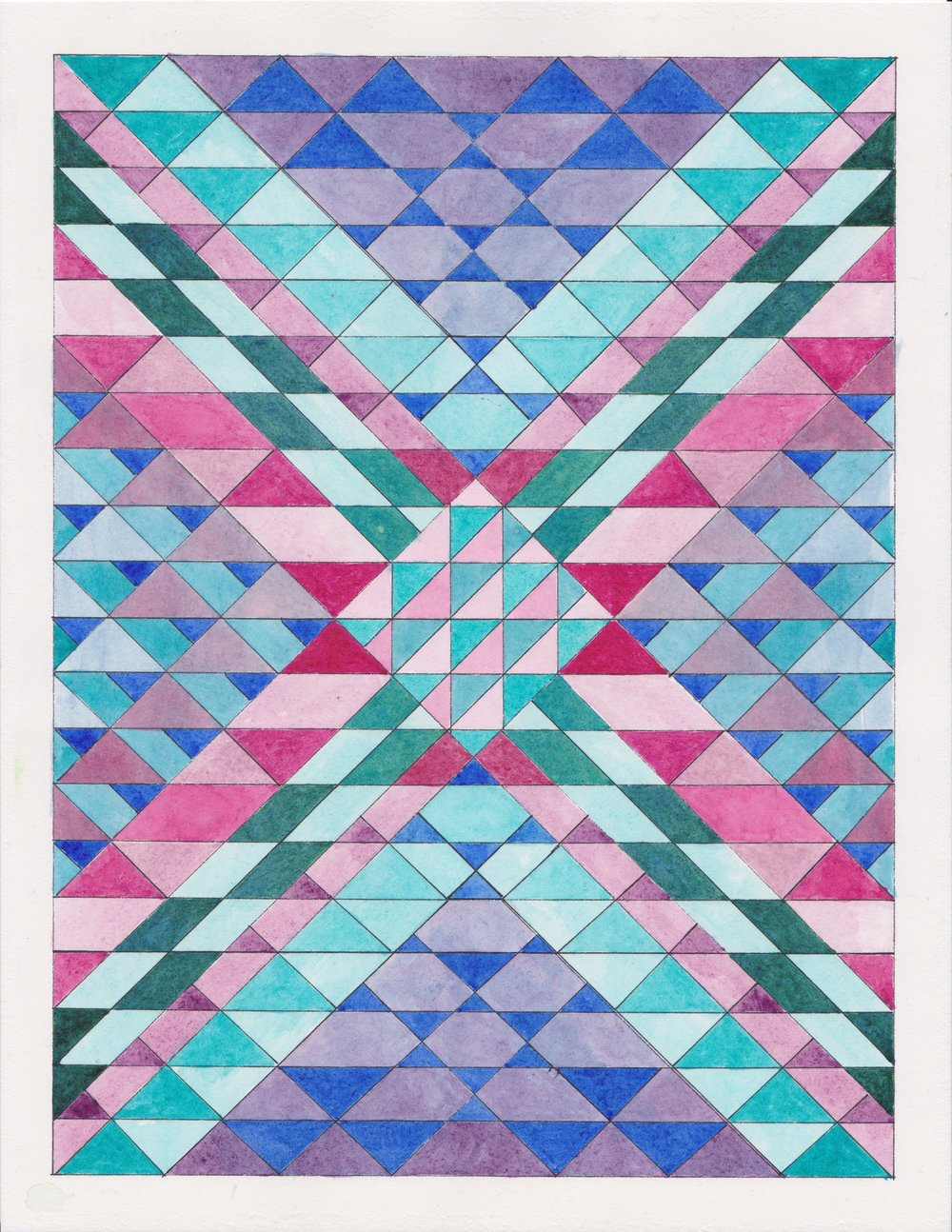 "Ephemeral Triangles no.12, 2017. Gouache, Watercolor + Ink on Paper. 11.5""x8.5"""