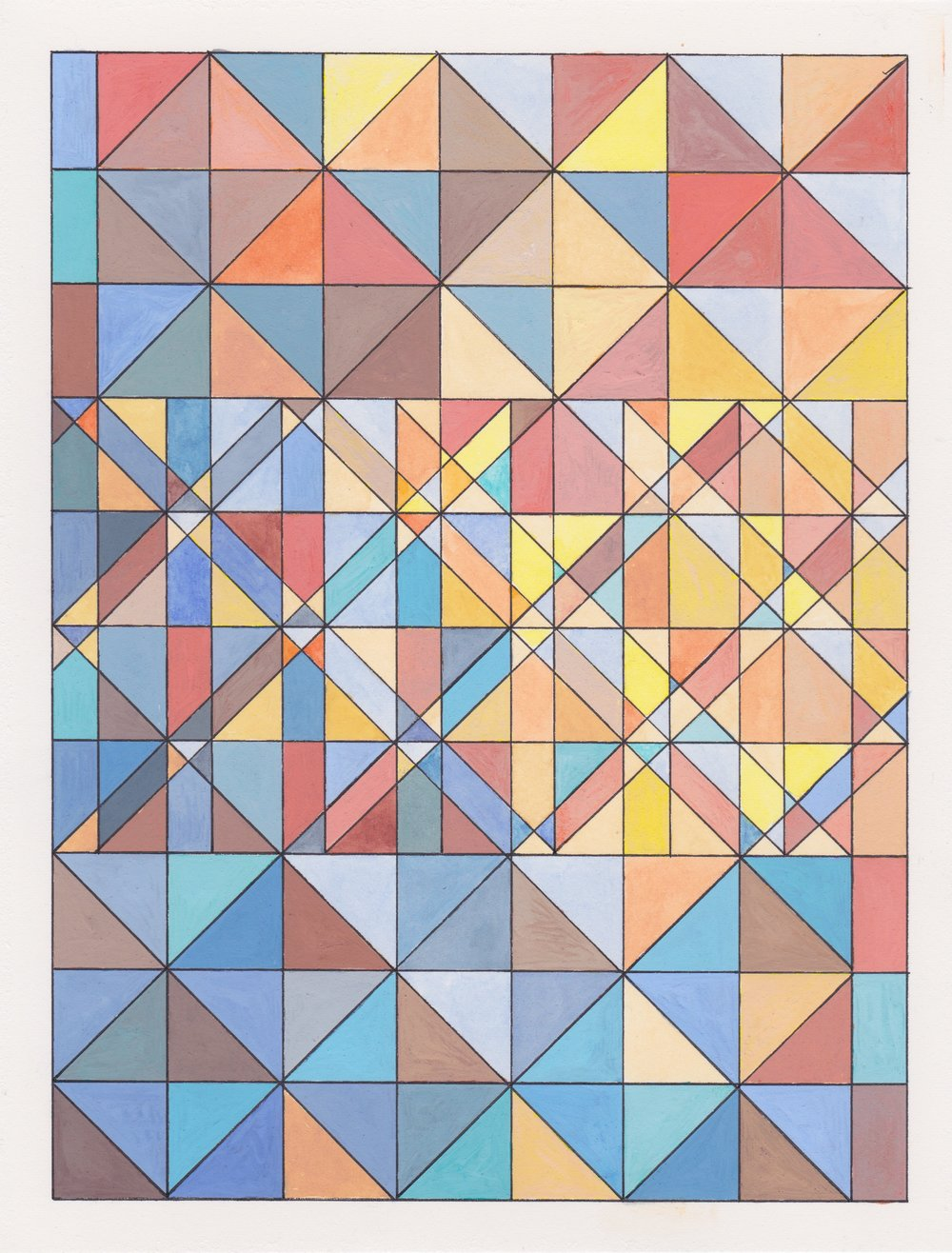 "Ephemeral Triangles no.16, 2017. Gouache, Watercolor + Ink on Paper. 11.5""x8.5"""