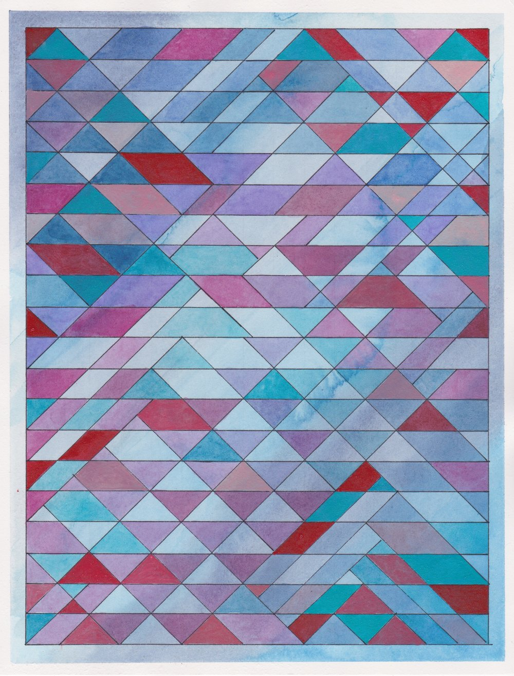 "Ephemeral Triangles no.20 - Dusk, 2017. Watercolor + Ink on Paper. 11.5""x8.5"""