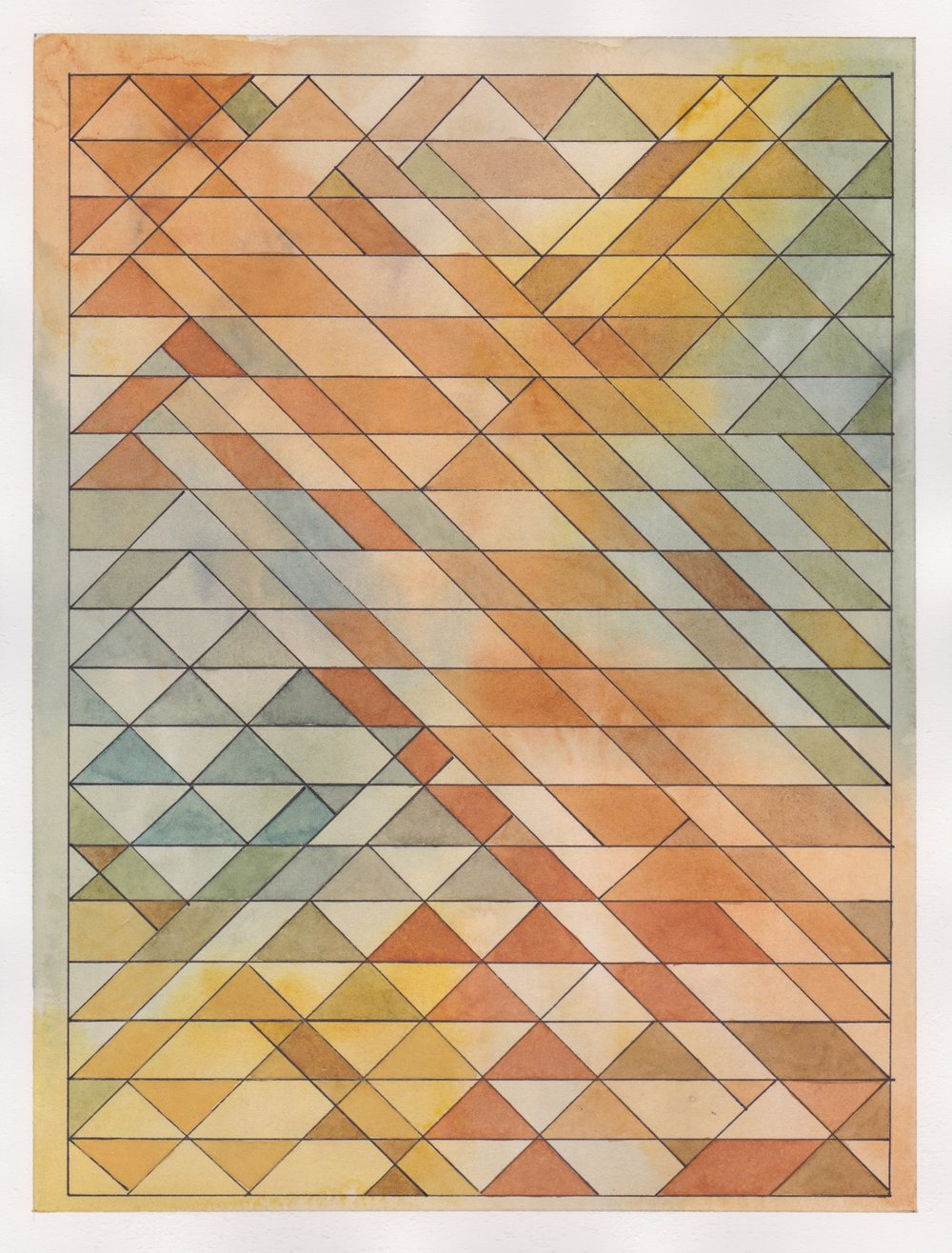 "Ephemeral Triangles no.21 - Autumn Light, 2017. Watercolor + Ink on Paper. 11.5""x8.5"""