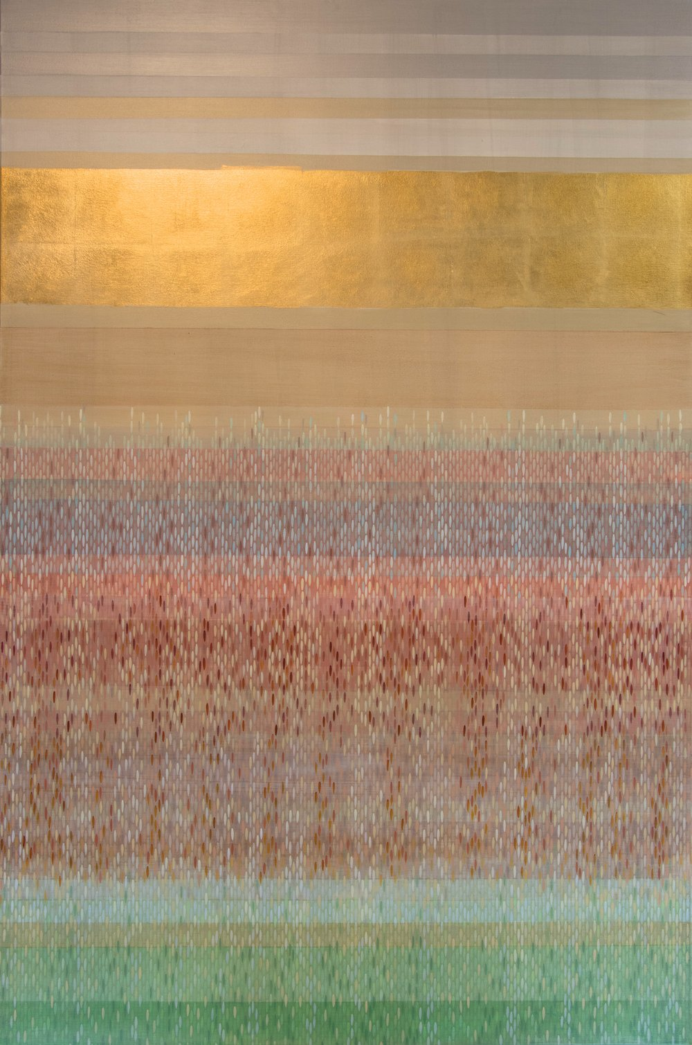 "color bands #3, 2014, acrylic + gold on canvas, 72""x48"""