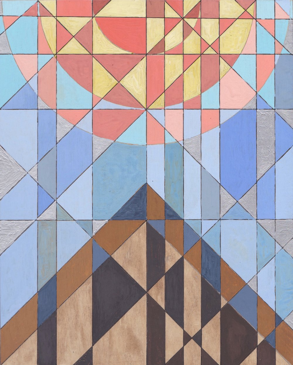 "Sun + Pyramid, 2017. Watercolo on Panel. 10""x8"" (25x20cm)"