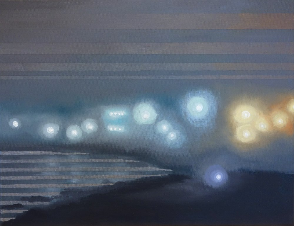 "Julika Lackner, ""Foggy Point"", 2018, Oil and Silver on Canvas, 16""x20"""