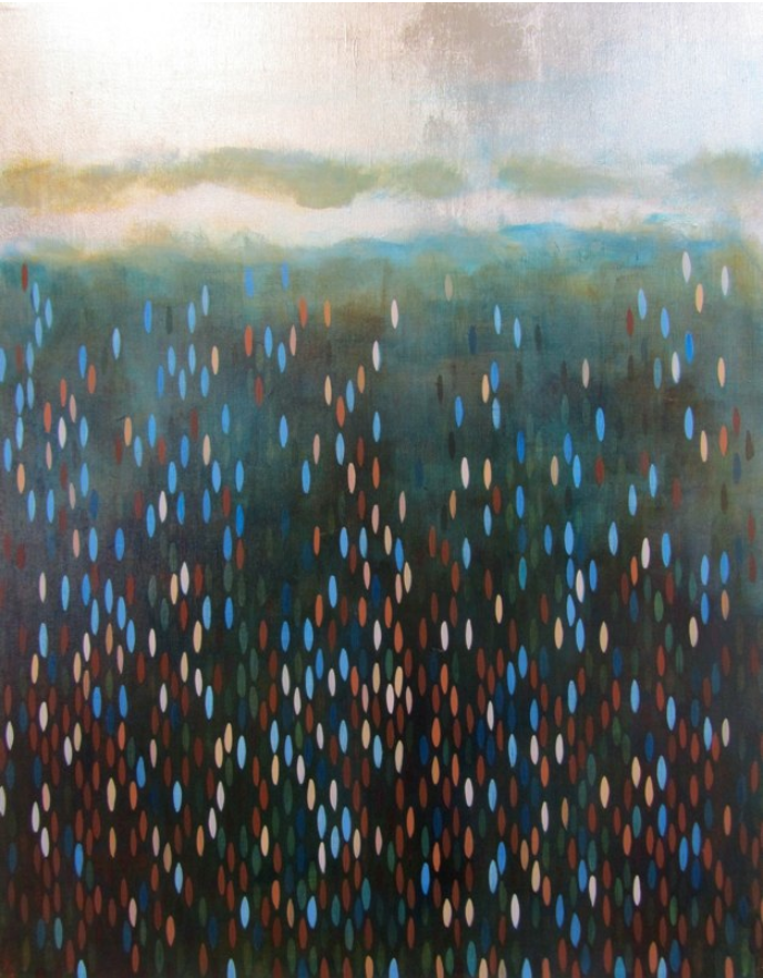 "Avast, 2011, acrylic + alum-silver on canvas, 28""x22"" (≈71x56cm)"