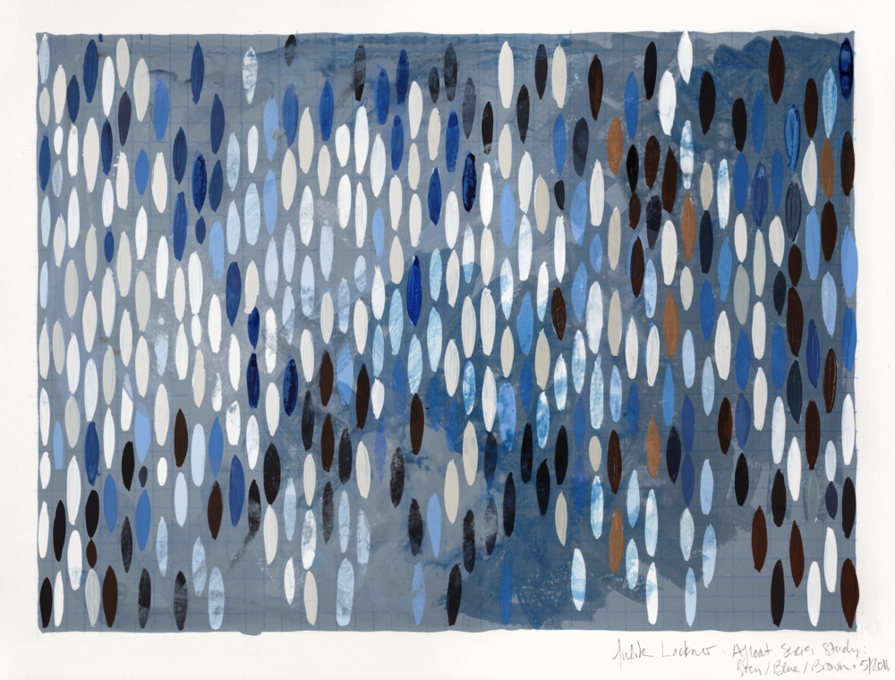 """Afloat on Paper (Grey/Blue), 2011, watercolor and gouache on paper 9 3/8""""x12"""" (≈25x30cm)"""