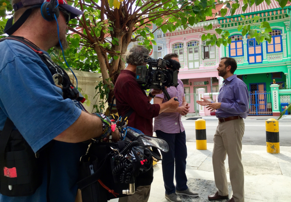 Josh Talbot [Sound] and Simon Nichols [Camera] on location in Singapore's Joo Chiat heritage area.