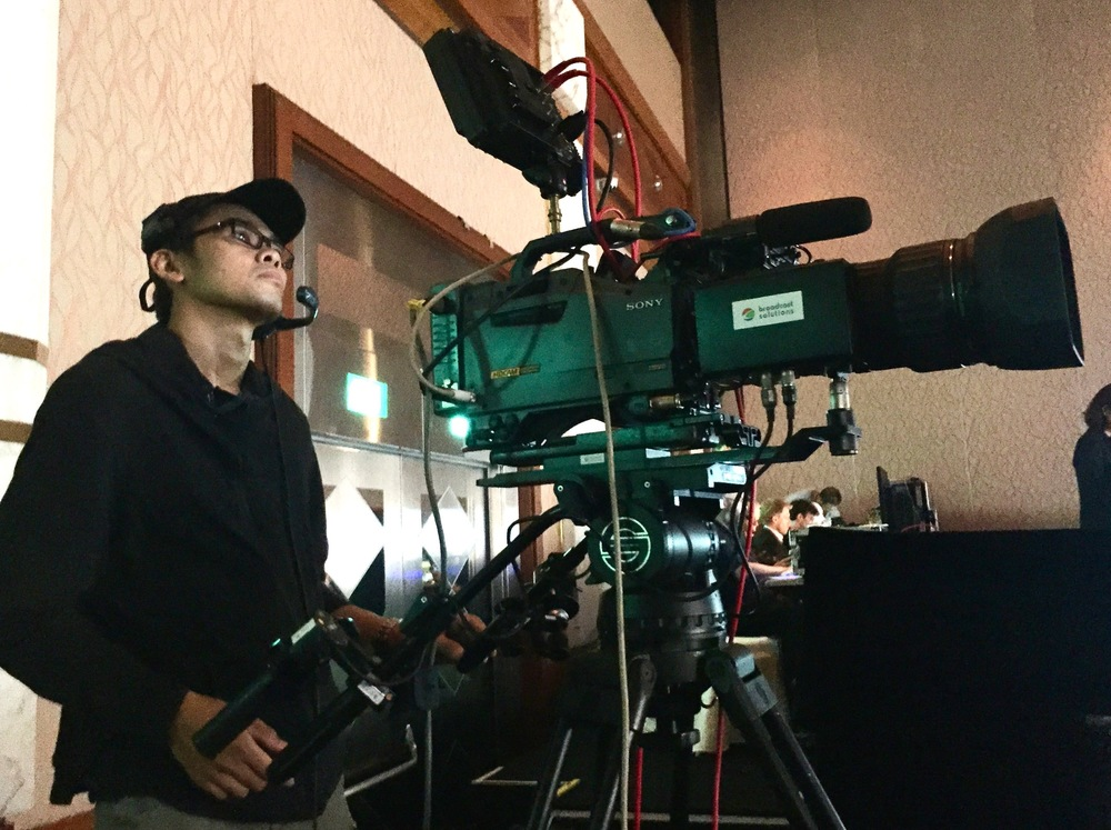 Eric Lin operating one of the five broadcast cameras.
