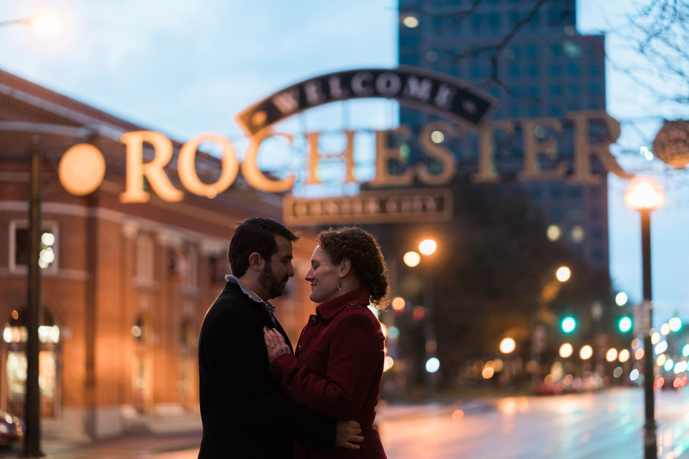 Kim and Matt Engagement Photography at Village Square and Rochester NY Skyline by Stefan Ludwig Photography-55.jpg