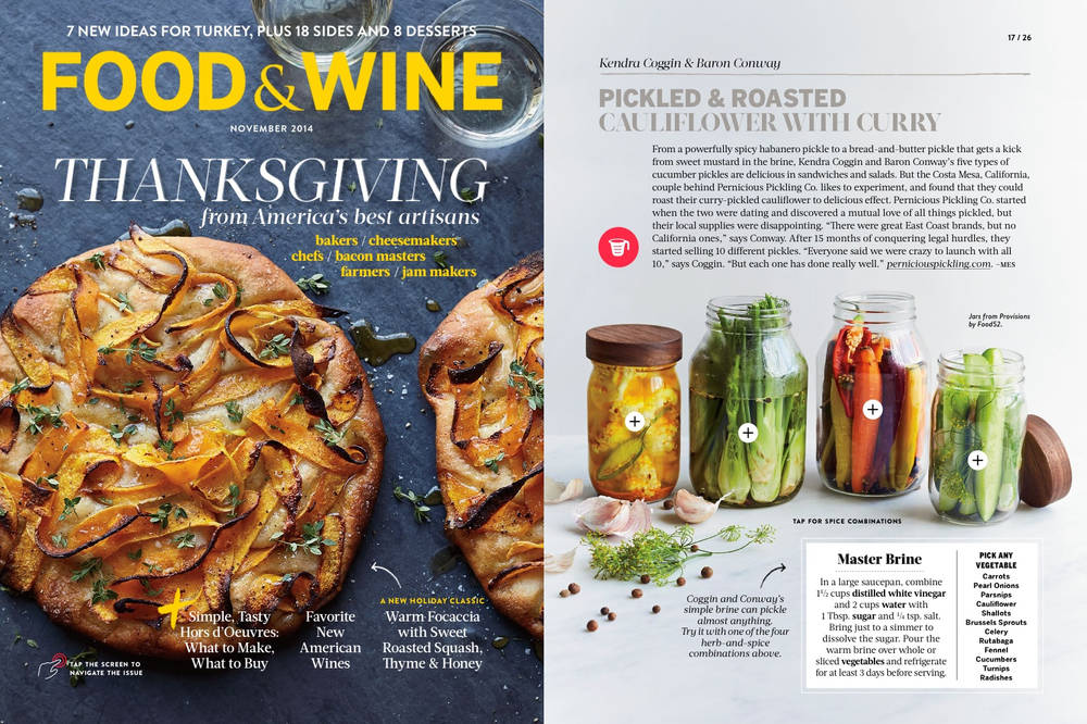 "Food & Wine ,   Thanksgiving Issue  , ""America's Best Food Artisans Share Their Ultimate Recipes"" (Nov 2014)"