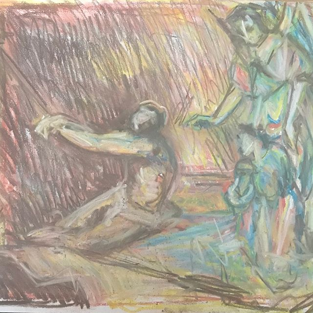 #velazquez 'Christ After the Flagellation contemplated by the Christian Soul'. The Angel seemed to be trying to push out of the top of the paper as the drawing progressed... #drawing